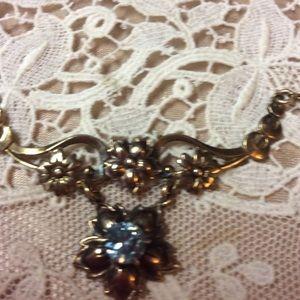 Vintage Girls Romantic Delicate Blue Gold Necklace
